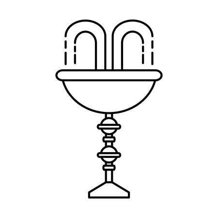 decorative water fountain icon over white background vector illustration