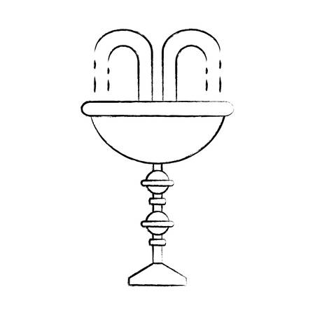 sketch of decorative water fountain icon over white background vector illustration 일러스트