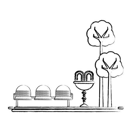 park with decorative water fountain and seats icon over white background vector illustration