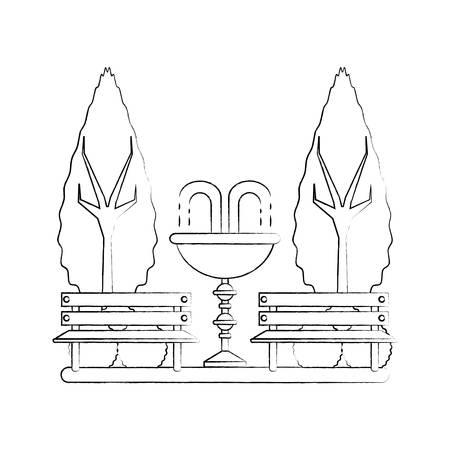 sketch of park with decorative water fountain and benches icon over white background vector illustration