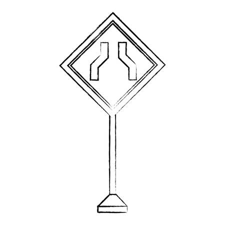 road narrows sign, warning road icon over white background. sketch design, vector illustration