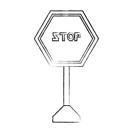 stop road sign icon over white background vector illustration Illustration