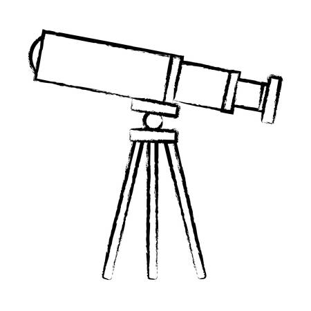 sketch of telescope icon over white background vector illustration