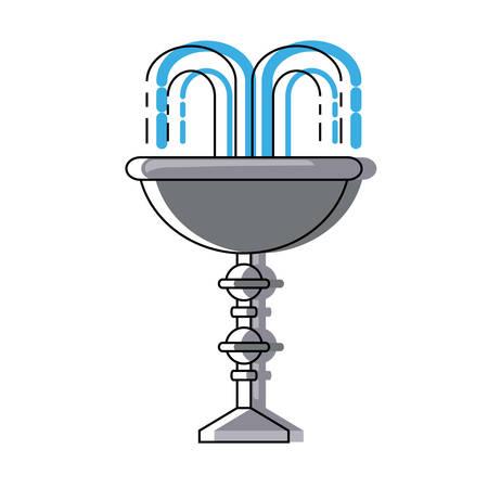 흰색 배경 위에 장식 물 분수 아이콘 화려한 디자인 벡터 일러스트 레이 션