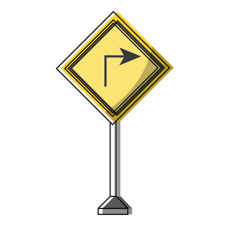 turn right icon, warning road icon over white background colorful design vector illustration
