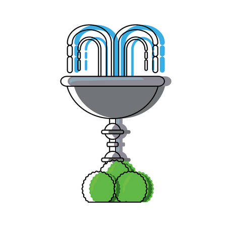 decorative water fountain with bushes icon over white background vector illustration 일러스트