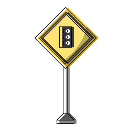 Traffic light ahead, warning road icon over white background colorful design vector illustration Illustration