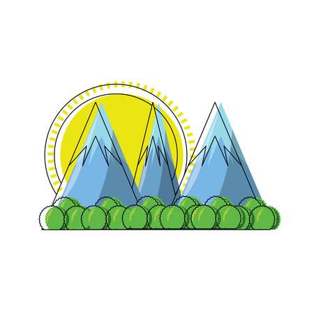 Cartoon alps landscape over white background colorful design vector illustration
