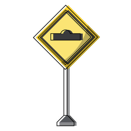 Warning road icon over white background vector illustration Vettoriali