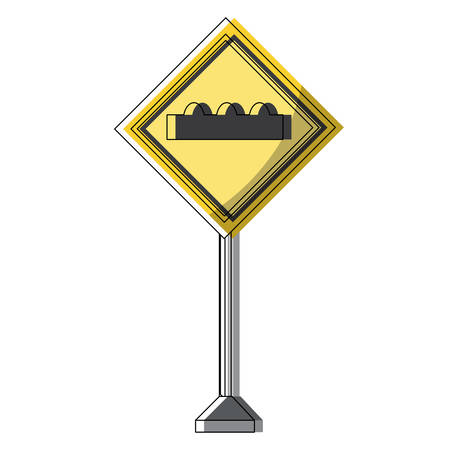 Humps ahead, warning road icon over white background colorful design vector illustration Illustration