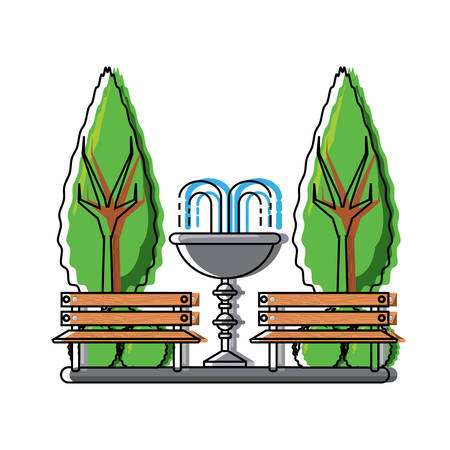 Park with decorative water fountain and benches icon over white background colorful design vector illustration Illustration
