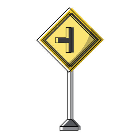 Side road sign, warning road icon over white background colorful design vector illustration 일러스트