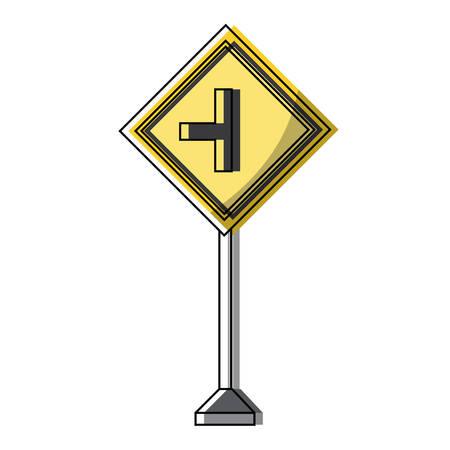 Side road sign, warning road icon over white background colorful design vector illustration Ilustração