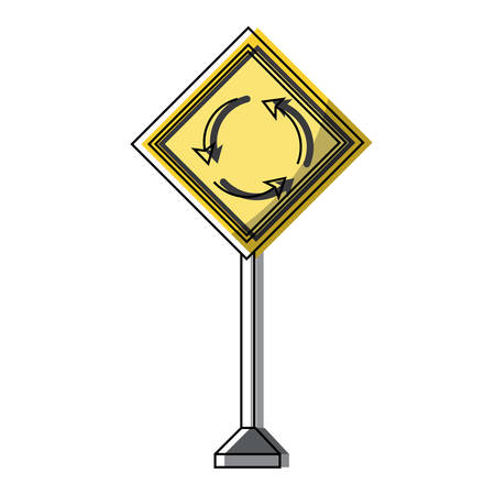 Roundabout, warning road icon over white background colorful design vector illustration 일러스트