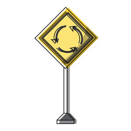 Roundabout, warning road icon over white background colorful design vector illustration Ilustração