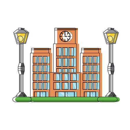 Big city building and street lamps over white background colorful design vector illustration