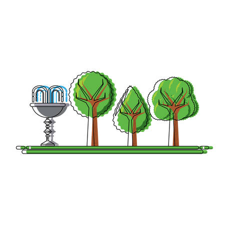 Park with decorative water fountain icon over white background vector illustration Illustration