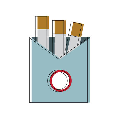 cigarette pack icon over white background colorful design vector illustration Illustration