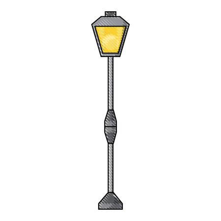 street light of vintage style over white background colorful design vector illustration