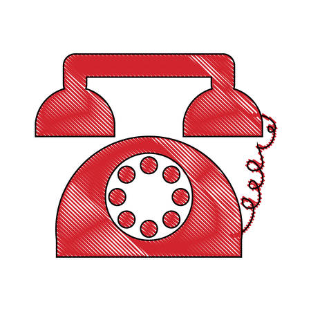 Retro telephone icon colorful design illustration.