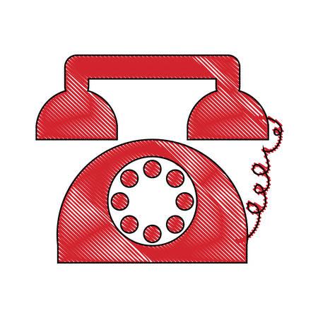Retro telephone icon colorful design illustration. Illustration