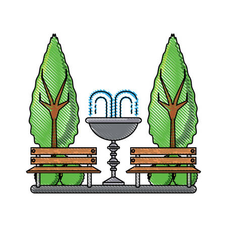 Park with decorative water fountain and benches icon colorful design illustration. 일러스트