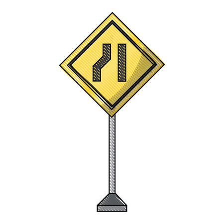 one road narrow sign, warning road icon over white background colorful design  vector illustration