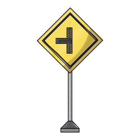 side road sign, warning road icon over white background colorful design vector illustration Illustration