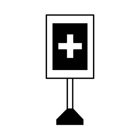 First aid information road sign icon colorful design illustration. Ilustração