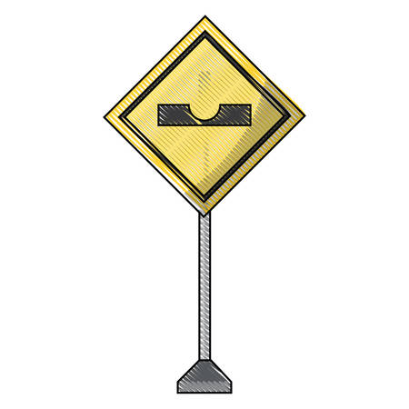 sharp depression, warning road icon over white background vector illustration Illustration