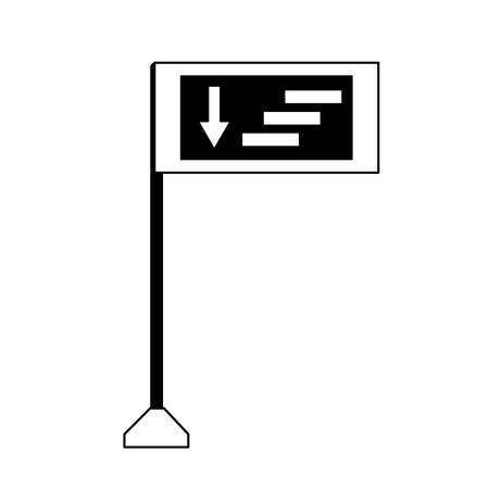 informative road sign with the direction of the road icon over white background vector illustration