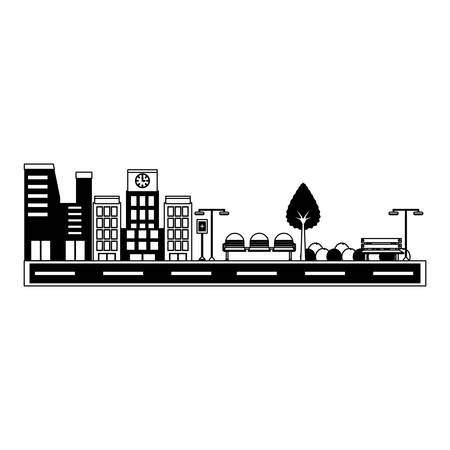 Road with city buildings over mountains landscape and white background vector illustration  イラスト・ベクター素材