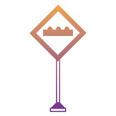 humps ahead, warning road icon over white background colorful design vector illustration