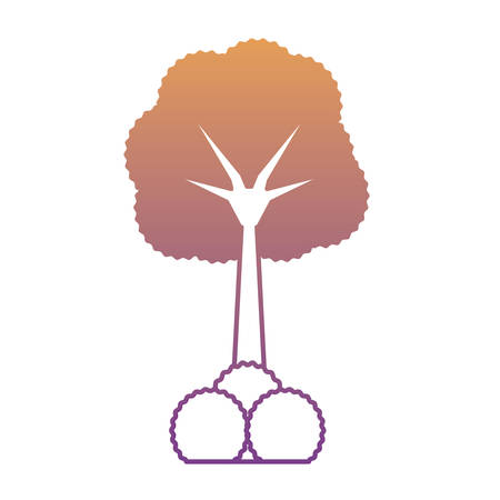 tree with bushes icon over white background colorful design vector illustration