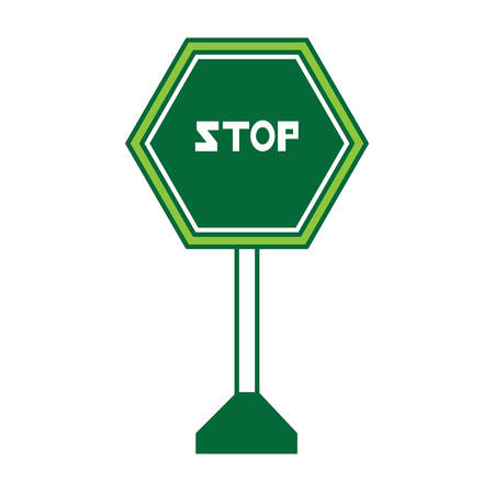 Stop road sign icon over white background colorful design vector illustration