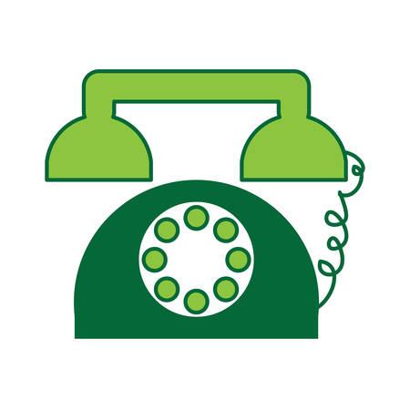 retro telephone icon over white background colorful design vector illustration