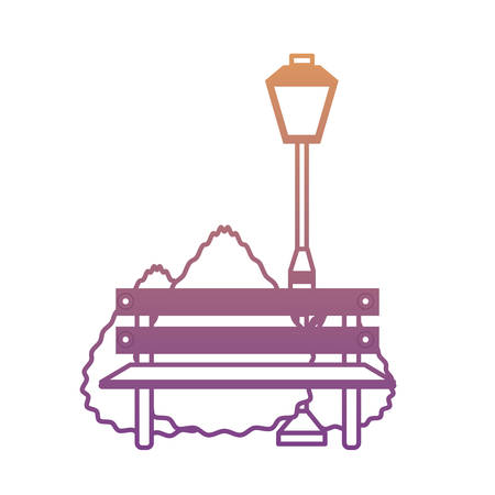 park bench and street lamp icon over white background vector illustration