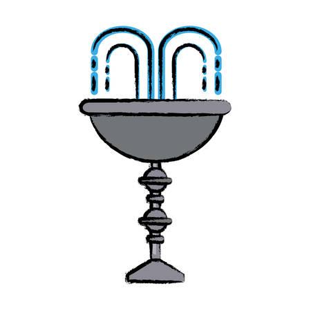 Decorative water fountain icon illustration.