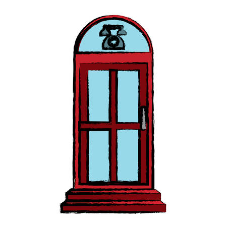 telephone box icon over white background colorful design vector illustration