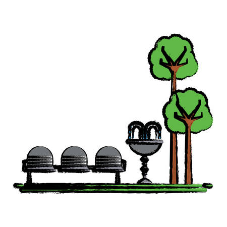 Park with decorative water fountain and seats icon over white background vector illustration.