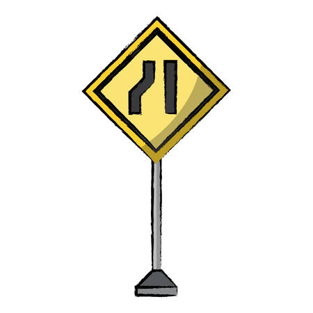 One road narrow sign, warning road icon. Illustration