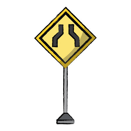 Road narrows sign, warning road icon. Illustration