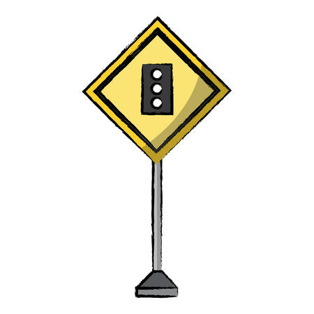 Traffic light ahead, warning road icon.