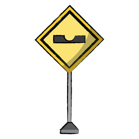 Sharp depression, warning road icon over white background vector illustration