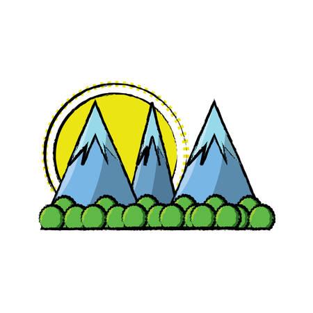 A cartoon alps landscape over white background colorful design vector illustration Illustration