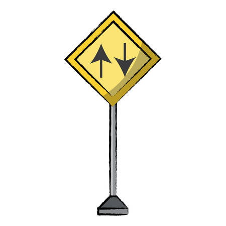 Two way, warning road icon over white background colorful design vector illustration.