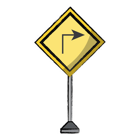 Turn right icon, warning road icon over white background colorful design vector illustration.