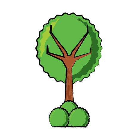 Green tree with bushes icon over white background vector illustration