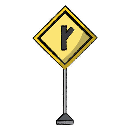 Diagonal side road sign, warning road icon over white background colorful design vector illustration.