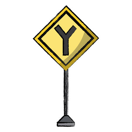 Y intersection road sign icon over white background 일러스트